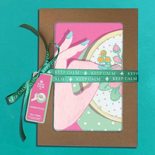 Teatowel Keep Calm and Cross Stitch Gift Box