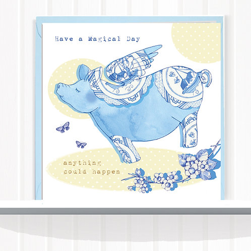 Willow Love Birds Range Greeting Card Blank inside set of 6 Code AR0161PIG