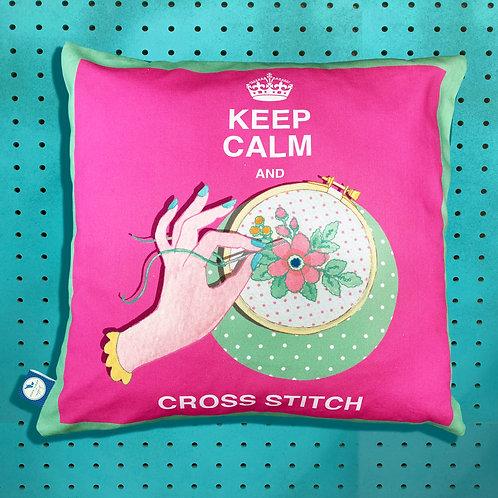 Keep Calm and Cross Stitch Cushion Cover