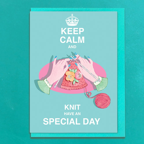 Keep Calm and Knit Greeting Card