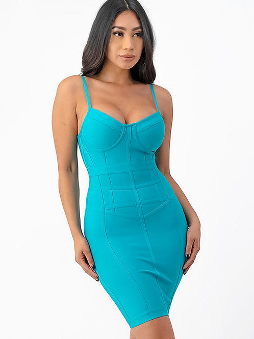 Lara Aqua Bandage Mini Dress