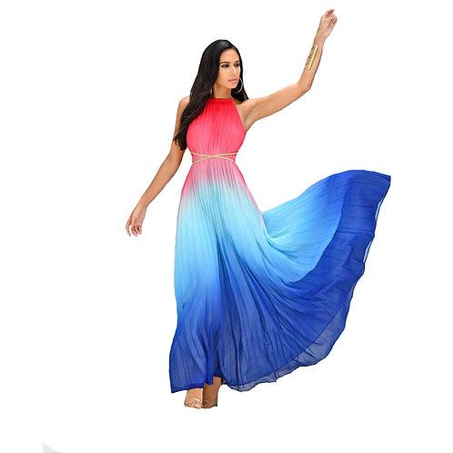Noelia Pink Blue Maxi Dress