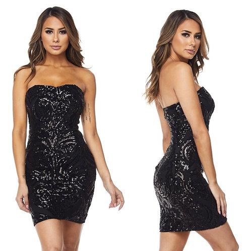 Yesy  Black Mini Dress Body-Con