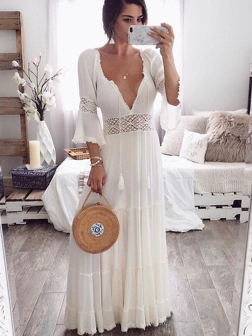 Isabella Maxi Dress Off-White Crochet
