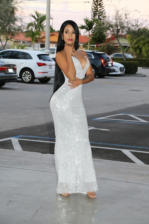Paula Silver Maxi Dress