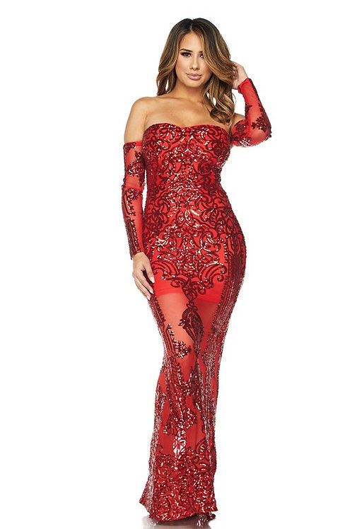 Tommy Lace Maxi Red Dress