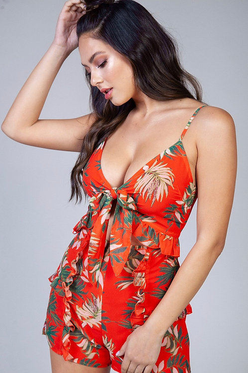 Mia Orange-Red Romper