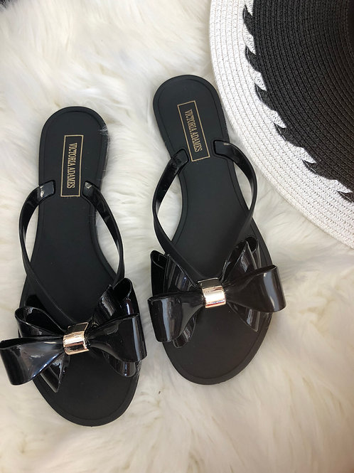 Lulu Black Gummy Sandals