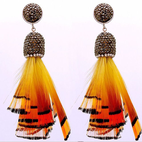 Lulu Feather And Pave Crystal Earrings