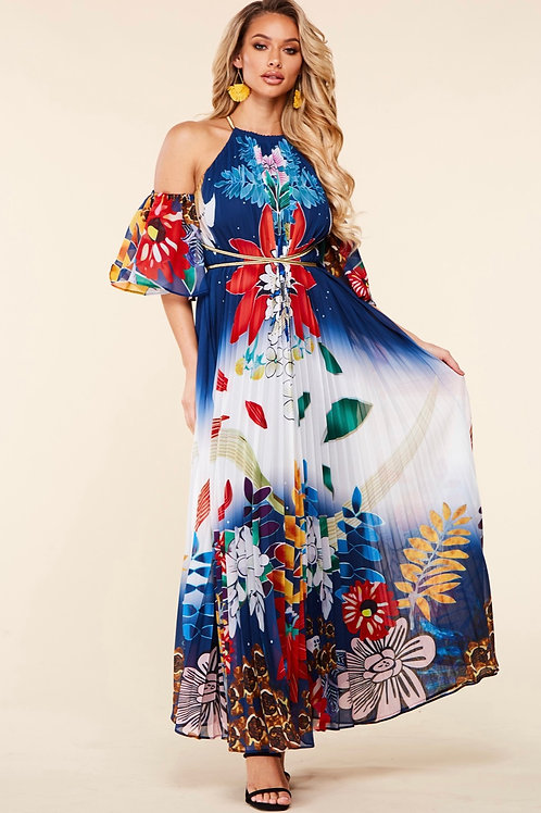Carol Whimsical Flower Print Maxi Dress