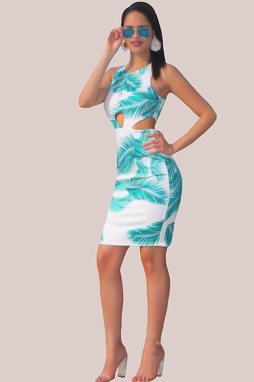 Cecile Palm Dress
