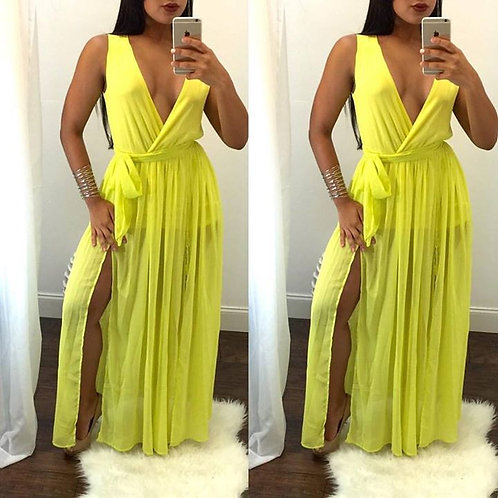 Peach yellow maxi dress