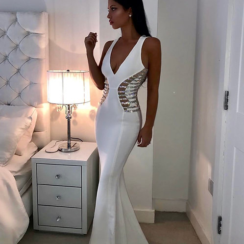 Mismi white Diamond Detail Dress