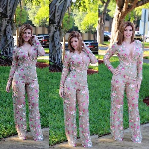 Nina Floral Lace Jumpersuit