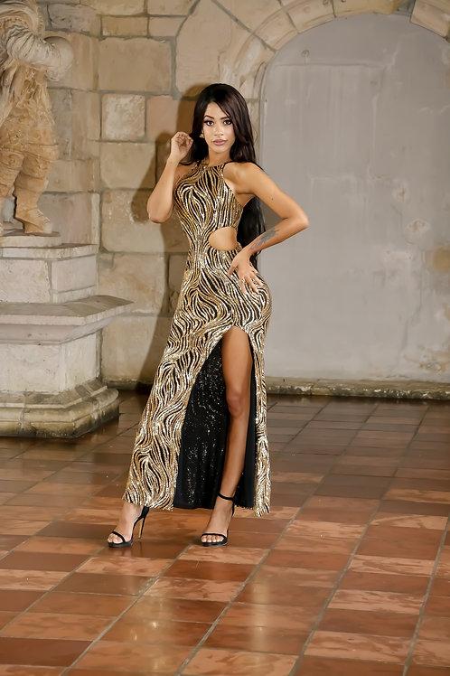 Lara Golden Maxi Dress
