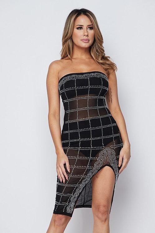 Sindy Tube Top Dress With Rhinestone
