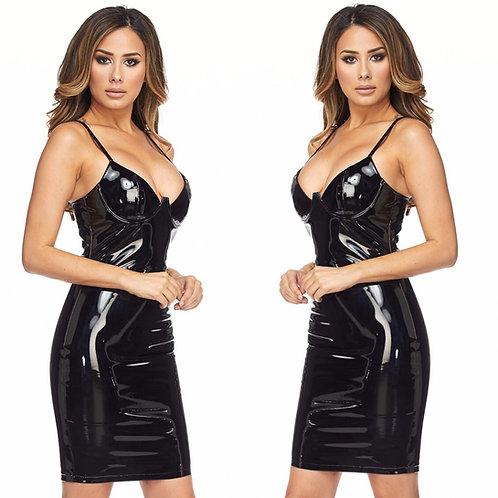 GINA LATEX BLACK DRESS