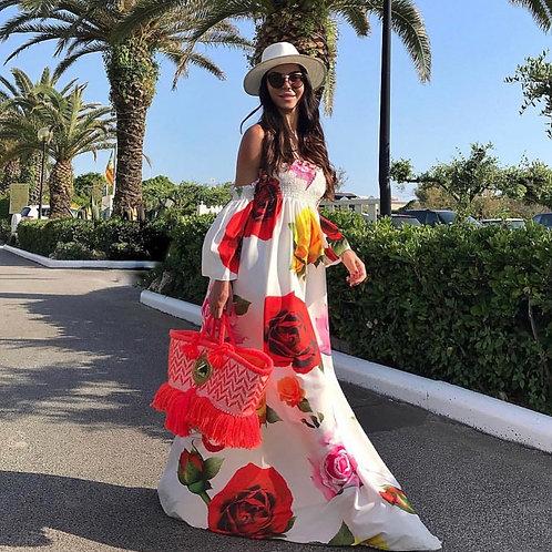 Devora White Rose Print Maxi Dress