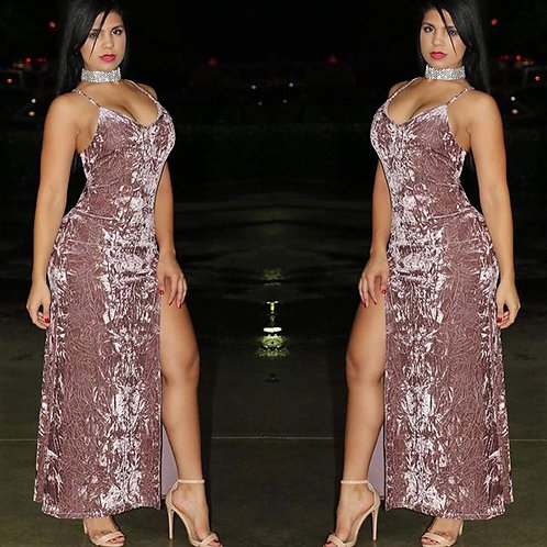 Kaitlyn Mauve Velvet Maxi Dress