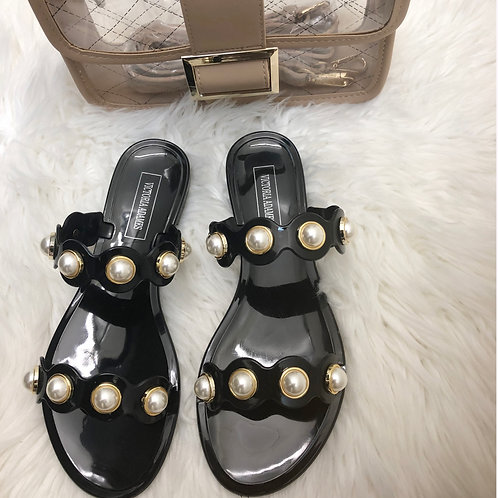 Cleo Black Gummy Sandals With Pearls Detail