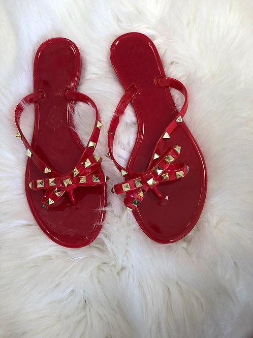 Red Rock Stud Gummy Sandals