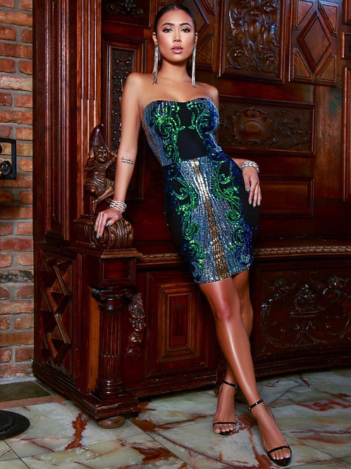 Isabella Black Green Silver Sequins Strapless Mini Dress