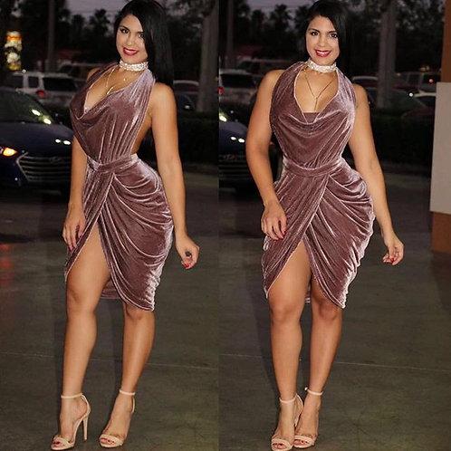 Melisa Mauve Velvet Draped Dress