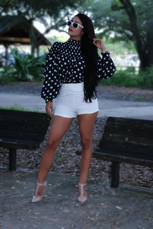 Tara Long Sleeve Black Blouse