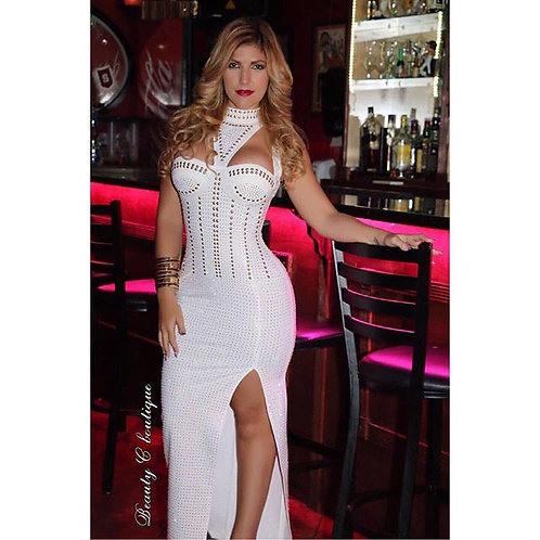 Cleopatra white maxi dress with choker