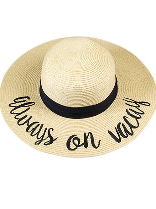 Always On Vacay Natural Color Woven Sun Hat