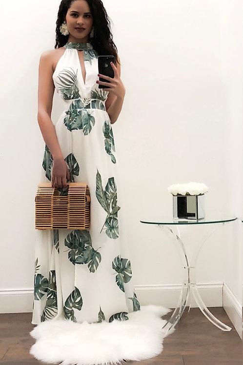 Perla Palm Maxi Dress