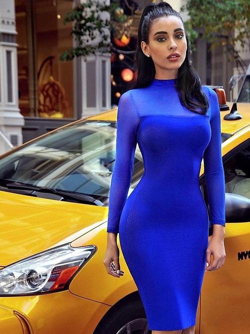 Angelina Blue Bandage Long Sleeve Dress
