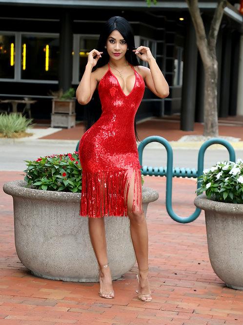 Camila Sequins Red Dress