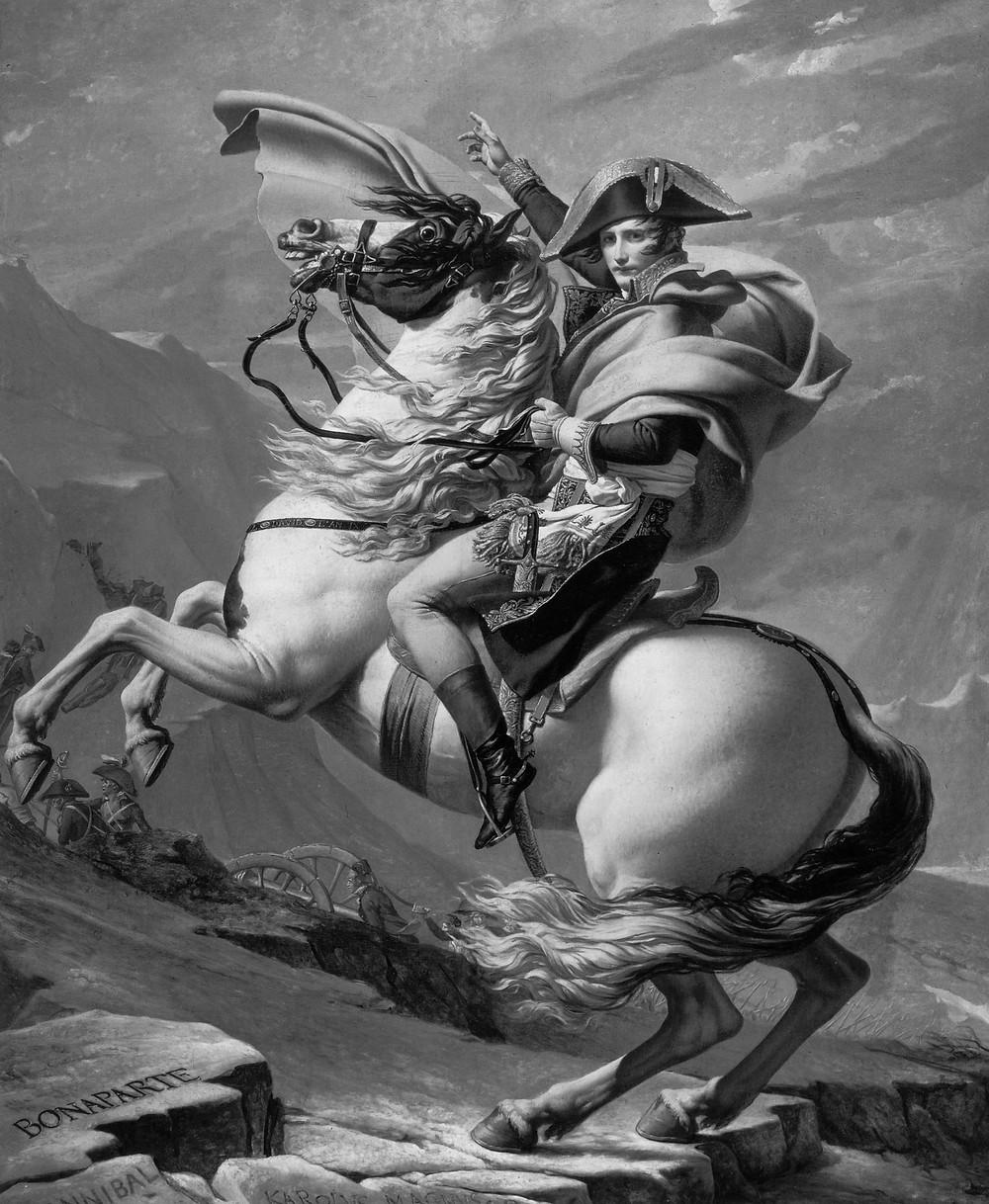 Gemälde von Napoleon auf seinem sich aufbäumenden Pferd