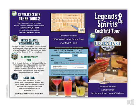 Legends & Spirits Cocktail Tour Brochure