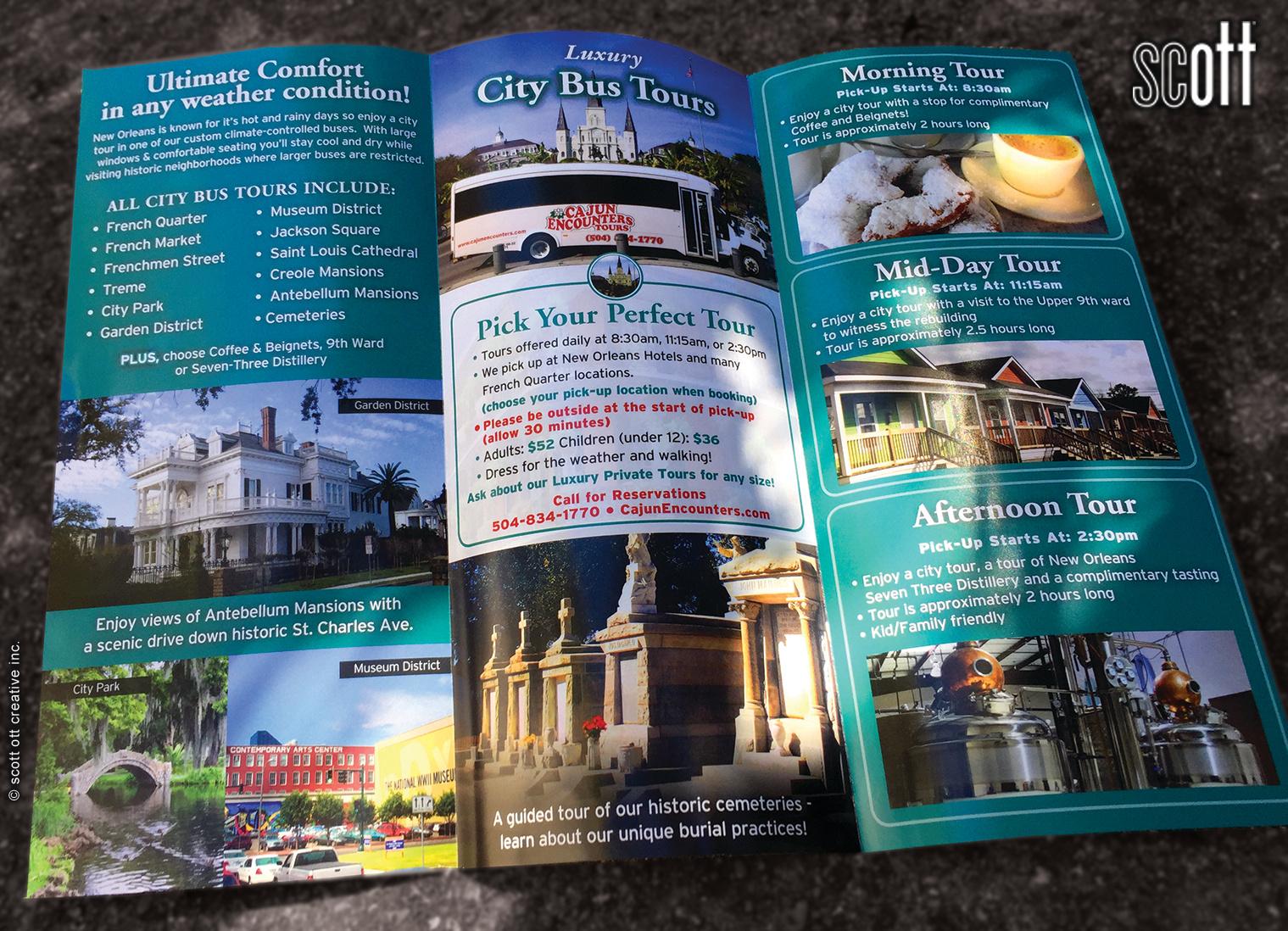 Cajun Encounters CITY TOUR spread - scott ott creative inc