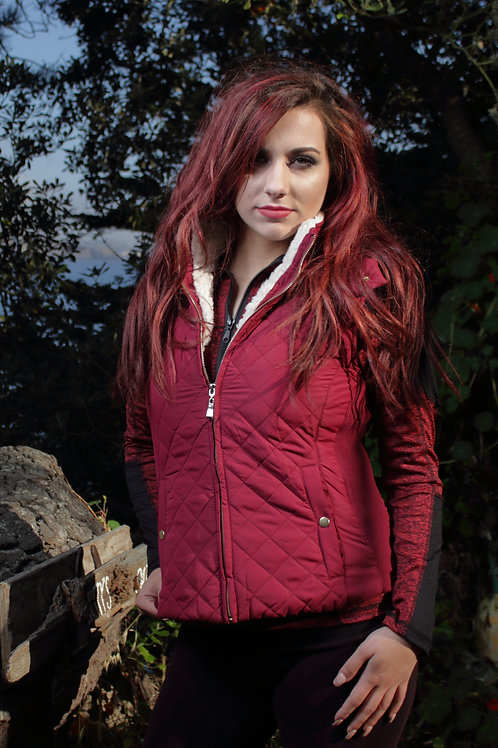 Faux Shearling Quilted Hoodie Vest