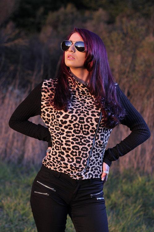 Leopard Two Tone Zipper Cropped Top