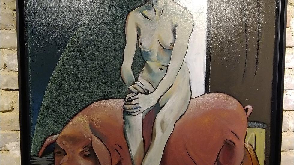 """Onie Jackson """"femme assise sur un cochon"""""""