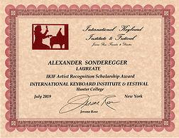 Alexaner Sonderegger IKIF Award New York