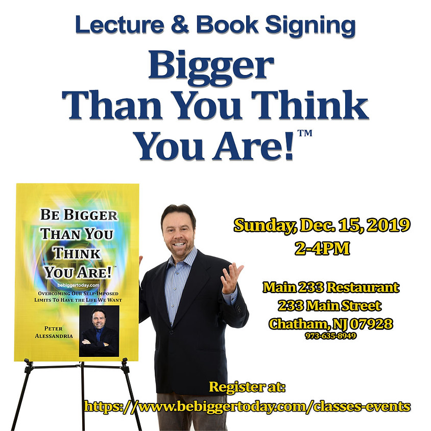 Lecture & Book Signing - Chatham, NJ - Dec. 15th