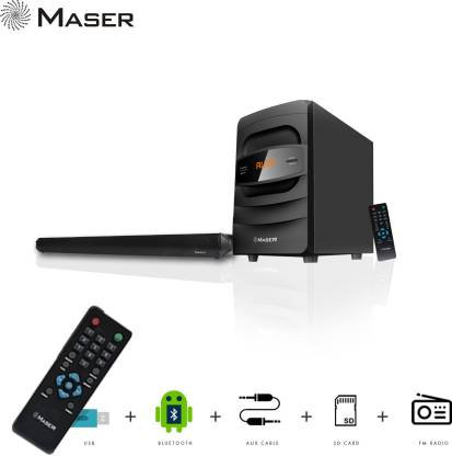 Maser Breeze SBW4010BTF 40 W Bluetooth Soundbar  (Black, 2.1 Channel)