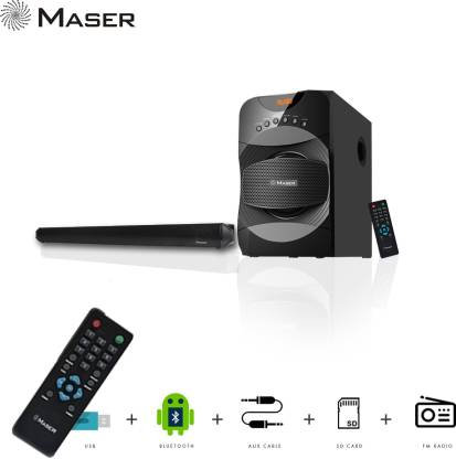 Maser Thrill SBW5010BTF Bluetooth Soundbar  (Black, 2.1 Channel)