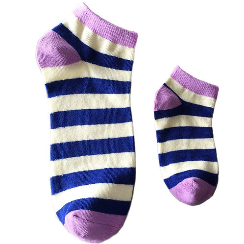 Mommy and Me Matching Socks, Blue Stripes - Wholesale