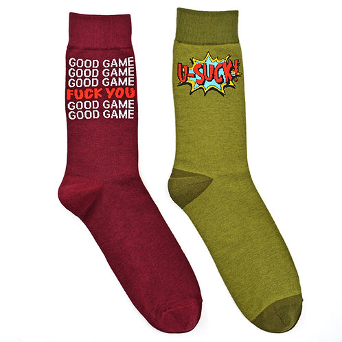 Good Sport You Suck Game Man Cave 2 Pair Men Sock Set Flat