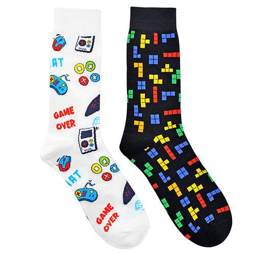 The Video Gamer Man Cave 2 Pair Men Sock Set Flat