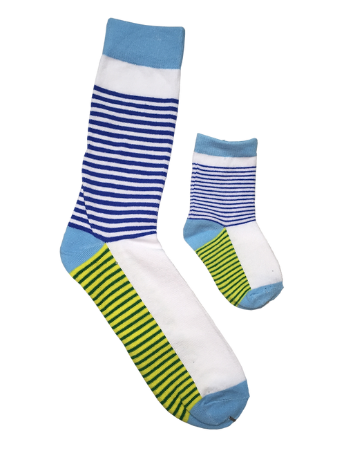 Daddy & Me Socks, Blue Green Thin Stripes