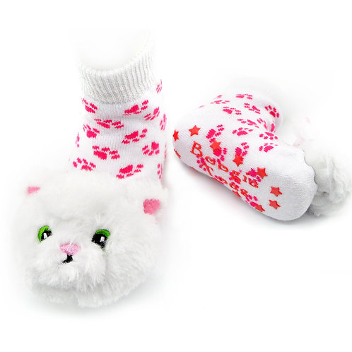 White Furball Boogie Toes Rattle Socks