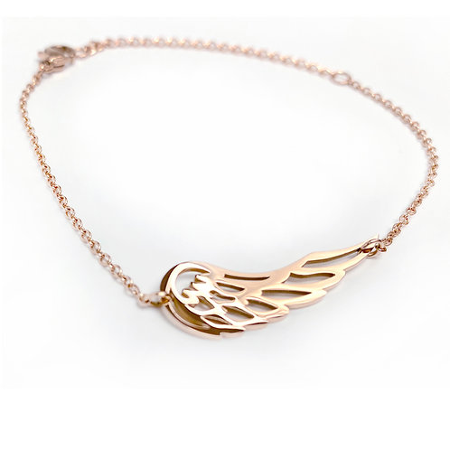 Angel Wing bracelet, PVD Rose Gold, 316 Stainless Steel