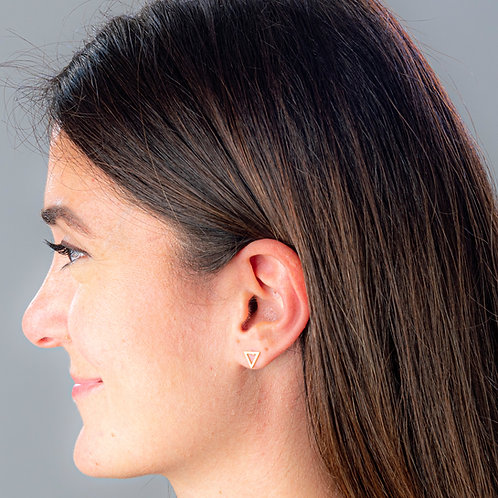 Simple Triangle Boogie Lobes Earrings - Rose Gold / Stainless 316